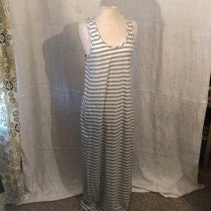 GAP grey/white strip maxi dress with racerback